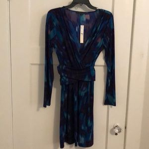 NWT teal, purple print dress